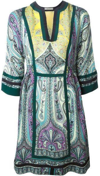 Etro Paisley-Print Silk Tunic Dress in Multicolor (green)