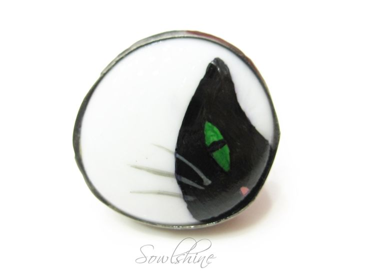 sOWLshine handmade jewelry - black cat ring www.sowlshine.blogspot.com
