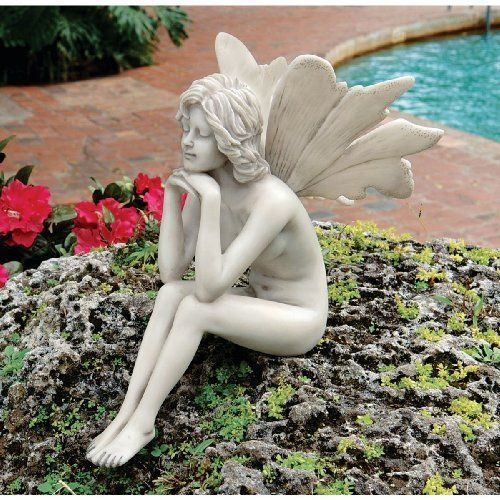 The Secret Garden Fairies: Pondering Fairy Statue By Design Toscano.  $29.95. Cast In