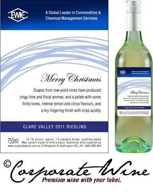 Clare Valley 2012 Riesling from our Gold Range was chosen as  the wine for this company's gifts, with Corporate Wine designed Christmas labels.