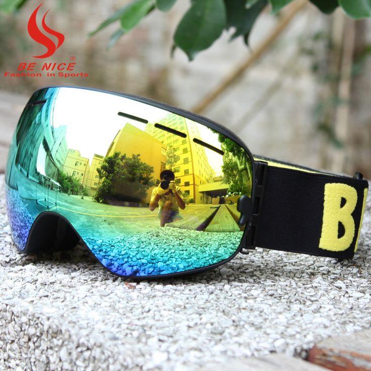 BE NICE snowmobile ski goggles double lens winter anti-fog big spherical high coverage professional snow goggles for adult 3100 -- Vy mozhete uznat' boleye podrobnuyu informatsiyu po ssylke izobrazheniya.