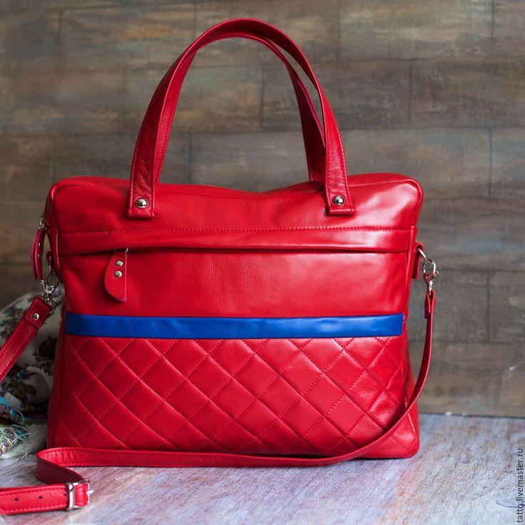 Купить Кожаная сумка , кожаный портфель - Фортуна ( красная ).резерв - классический стиль