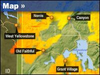 Map: Fires in Yellowstone