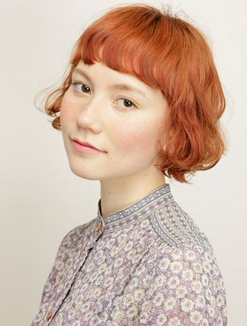 外人風ボブ オレンジベージュ ヘアコレ ヘアスタイルカタログ 髪型 HAIRstyle 美容室 可愛い カラー color bob ボブ