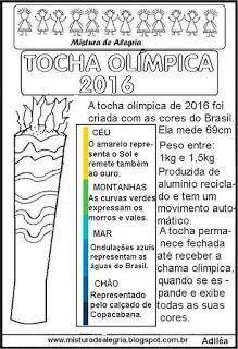 Tocha olímpica 2016,texto e desenho