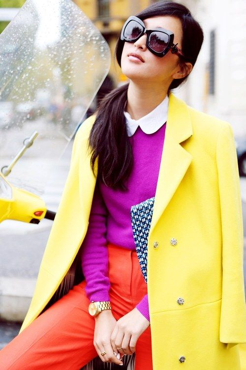 Strong combination! colour block. Yellow Coat, Purple Sweater with White Collar, Orange Pants.