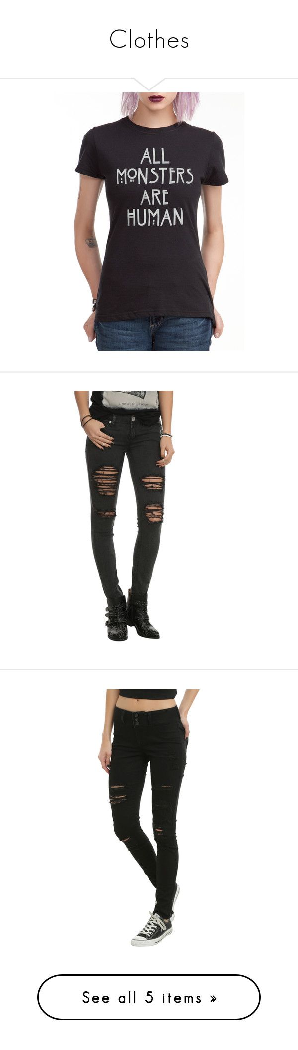 """""""Clothes"""" by mairethekiller ❤ liked on Polyvore featuring tops, t-shirts, shirts, american horror story, hot topic, black, tee-shirt, american t shirt, t shirt and americana t shirts"""