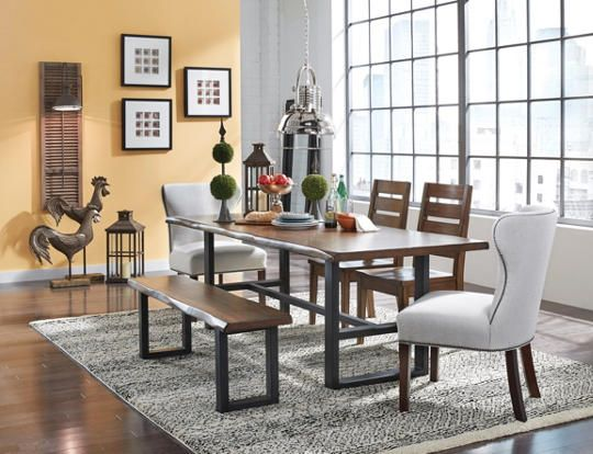 The Beautifully Hand Crafted Sarnia Dining Collection Features A Solid Top Table On Sturdy Steel