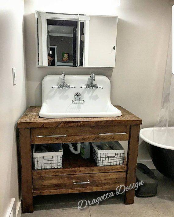 Chesapeake Edition 24 96 Reclaimed Custom Hand Made Rustic Vintage Farmhouse Barn Wood Bat Custom Bathroom Vanity Wood Countertops Barn Wood Bathroom