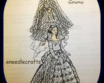 """Crochet Bride And Bridesmaid's Gowns - For 11 1/2"""" Dolls - Bridal Gown - Train And Crown - Bridesmaid's Gown And Cape"""