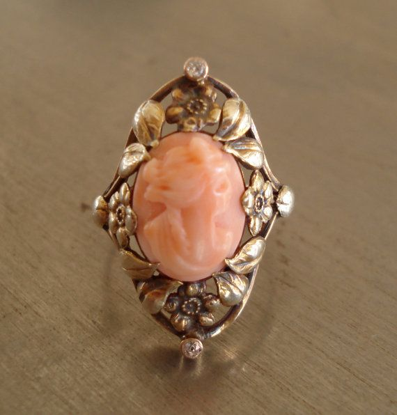 Antique Coral Cameo and Diamond Ring from 1912 by AntiqueSparkle