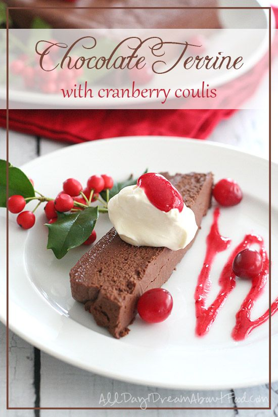 Low Carb Chocolate Terrine Recipe - dense and rich chocolate dessert with sugar-free cranberry sauce