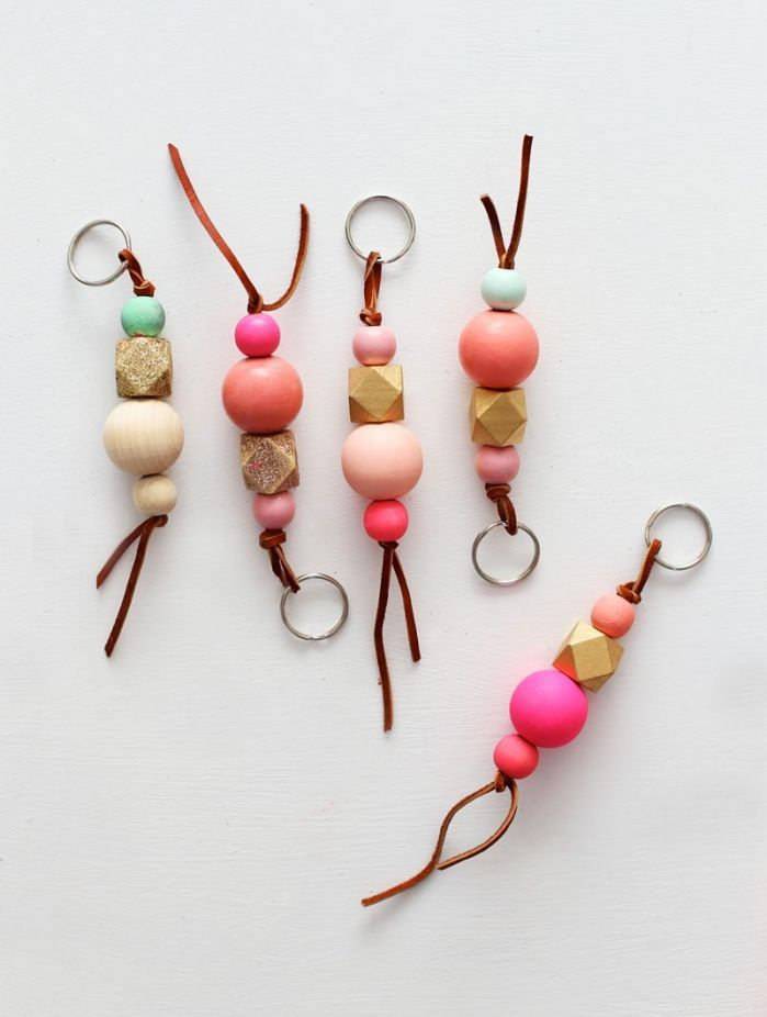 DIY wood bead key chains