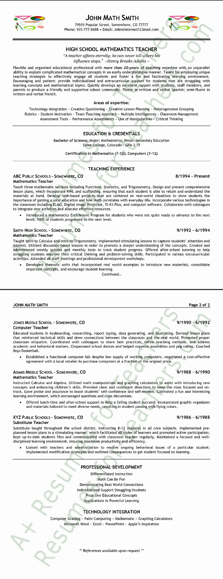 Resume Templates Wordpad Format in 2020 Teacher resume