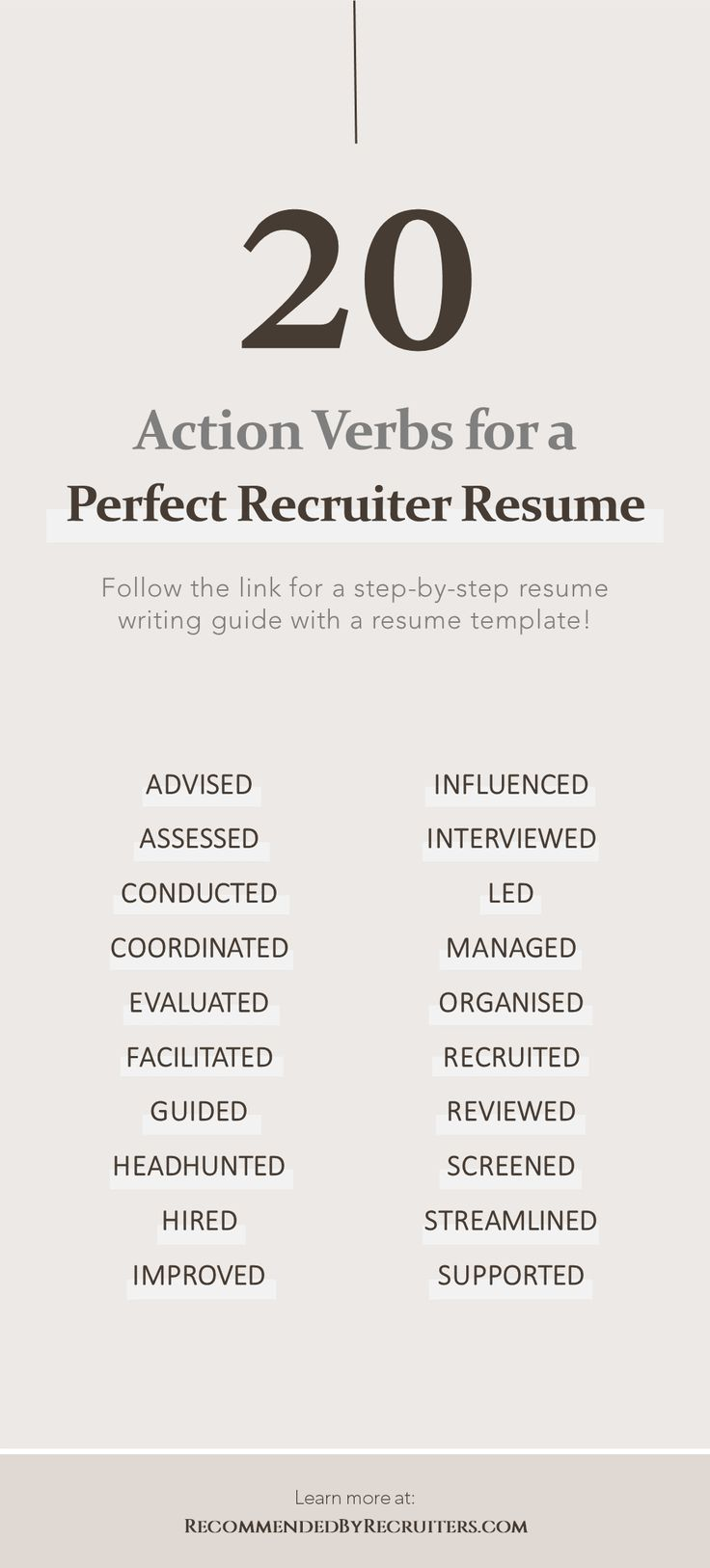 Resume Action Verbs, Power Words for Best Recruiter Resume