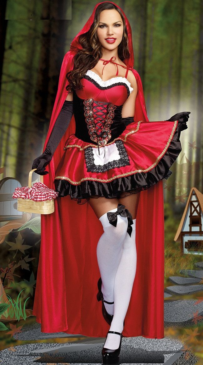 2016 High Quality Little Red Riding Hood Costume for Women Fancy Adult Hallowen Cosplay Fantasia Plus Size XL Dress+Cloak