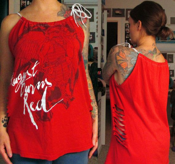 August Burns Red Refashioned T-Shirt Top with Side Cut-Outs and Shoestring Neck-Tie by MyStitchesNStones