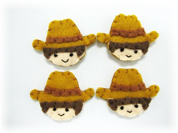 Handmade Felt Cowboys Appliques Character by craftfactory on Etsy, $4.80