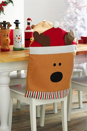 Festive dining chair covers for the xmas season. Add santa and reindeer characters to brighten up the christmas cheer. W50 x H66cm (each)
