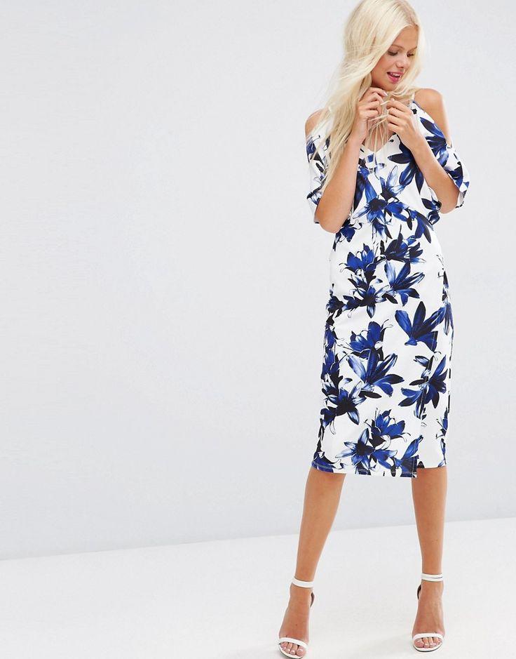 ASOS+Pencil+Dress+with+Cold+Shoulder+Dress+in+Blue+Floral+Print