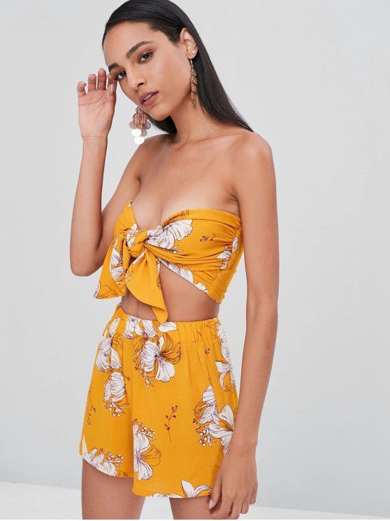 e6fc83c2753470 Floral Tie Up Bandeau Top Shorts Co Ord Set in 2019 | Zaful Trendy ...