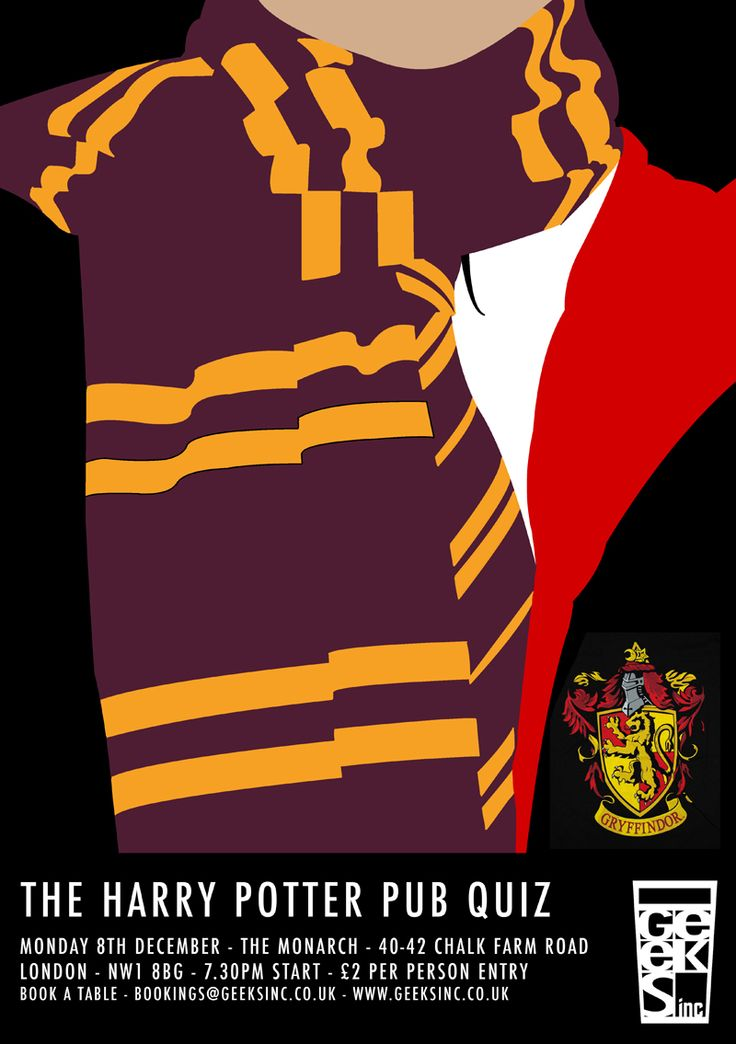 HARRY POTTER - The Pub Quiz! Dec 8th at The Monarch, 40-42 Chalk Farm Road, London, NW1 0LU. 7.30pm/£2 per person on the night.