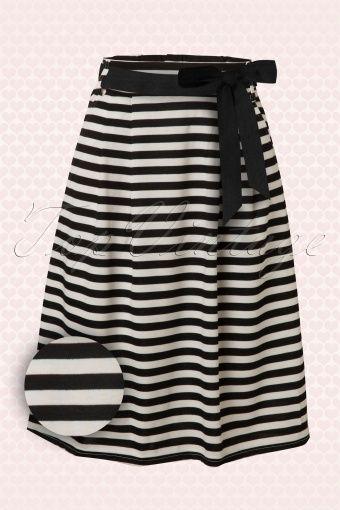 Mikarose - 50s Striped Sailor A-Line Skirt in Black & White