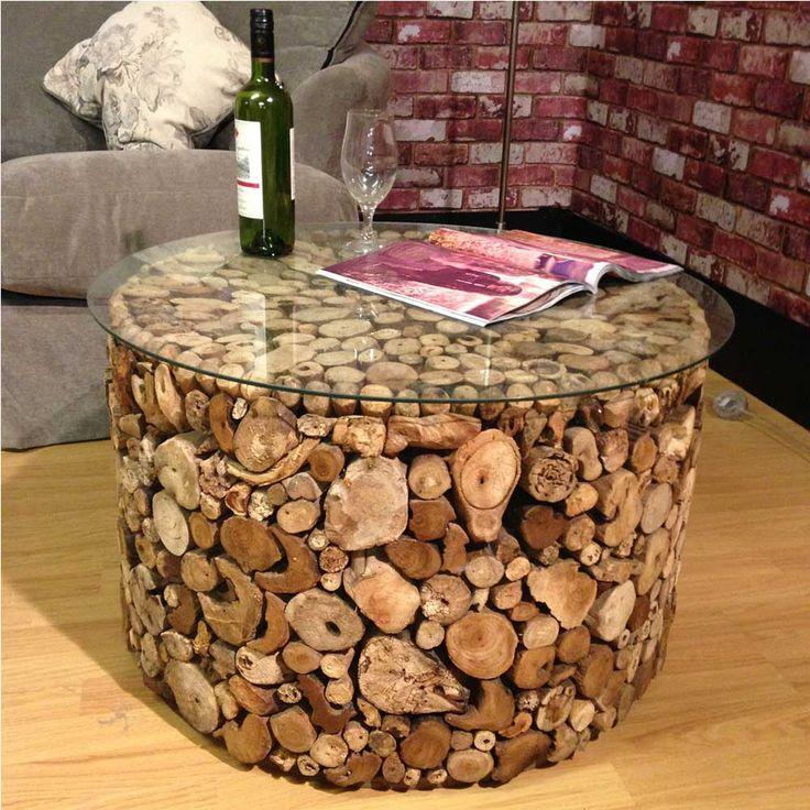 Dimensions dia 75cm x h 47cm driftwood coffee table