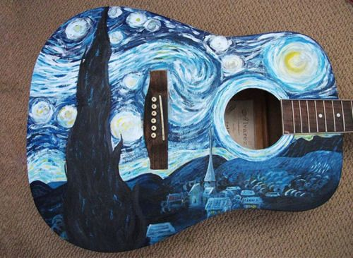 "A copy of a portion Vincent van Gogh's painting ""The Starry Night"" (1888) painted onto an acoustical guitar"