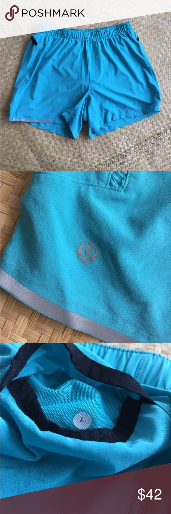 Lululemon men's Aqua shorts size L Great basic running shorts. Supportive lining. Discreet side pockets. Size L. Elastic waist. Very good preloved condition. Please take a look at the pictures for better reference. lululemon athletica Shorts Athletic