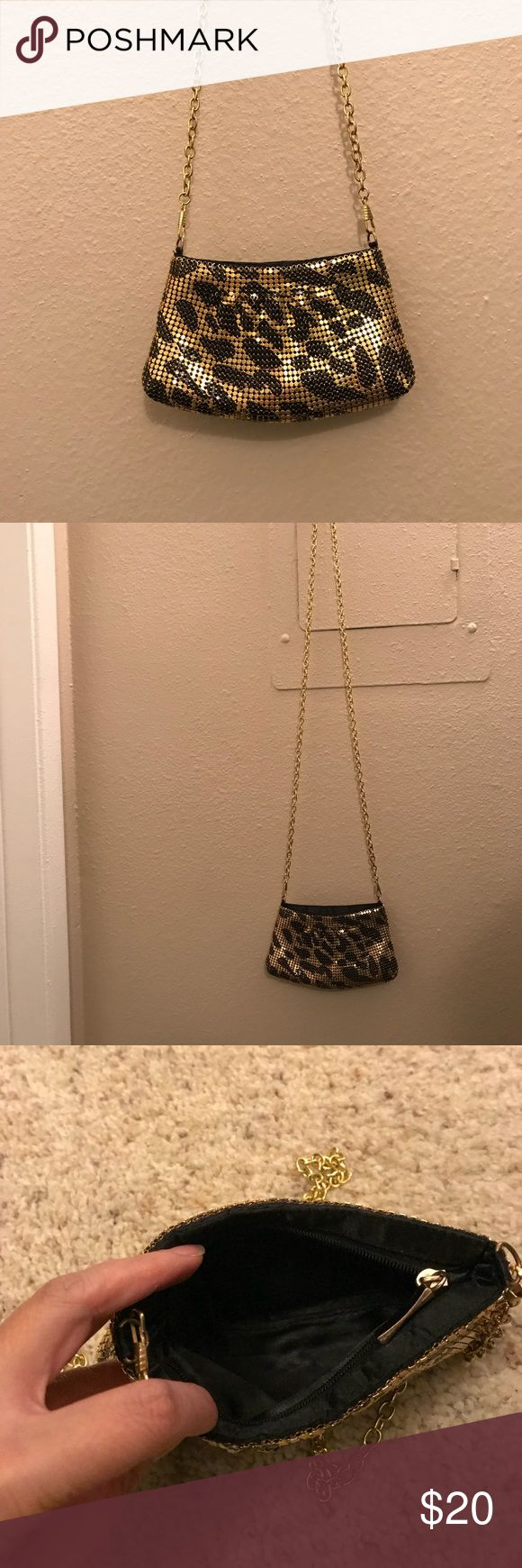 Mini Crossbody Bag Leopard print, metallic texture. Super cute to wear on a night out or causal. Will not fit an IPhone 6 Plus phone. Purchased from Nordstrom. Bags Crossbody Bags
