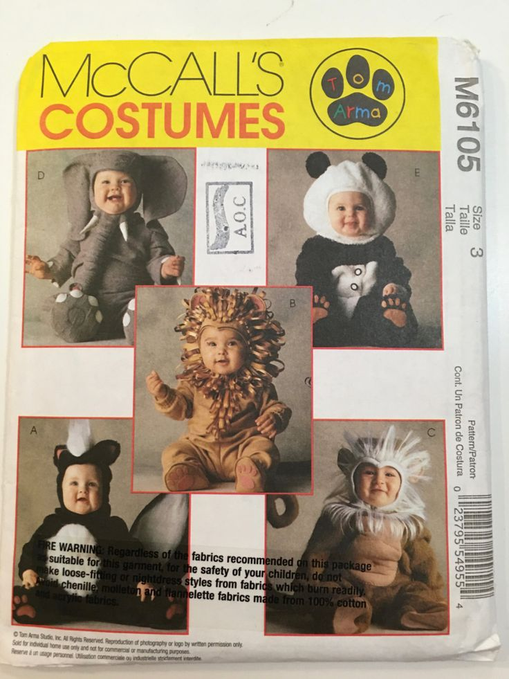 Kids McCalls UNCUT McCalls Costume Pattern M6105~Uncut~ SZ 3~Skunk, Monkey, Lion, Panda, Elephant by weseatree on Etsy