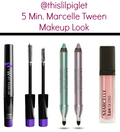 5 Minute Makeup Look for tweens from @Marcelle Thompson #MarcelleMoms #beauty Look: Marcelle Lux Cream Eye Shadow +Liner in Wisteria on lid & a light Sea Breeze liner, Twist Push-Up Mascara; Lux Gloss Cream in Angel