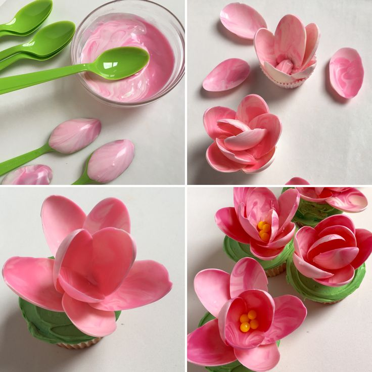 Making Pink Chocolate Magnolia Cupcakes using plastic spoons. From hellocupcakebook.com