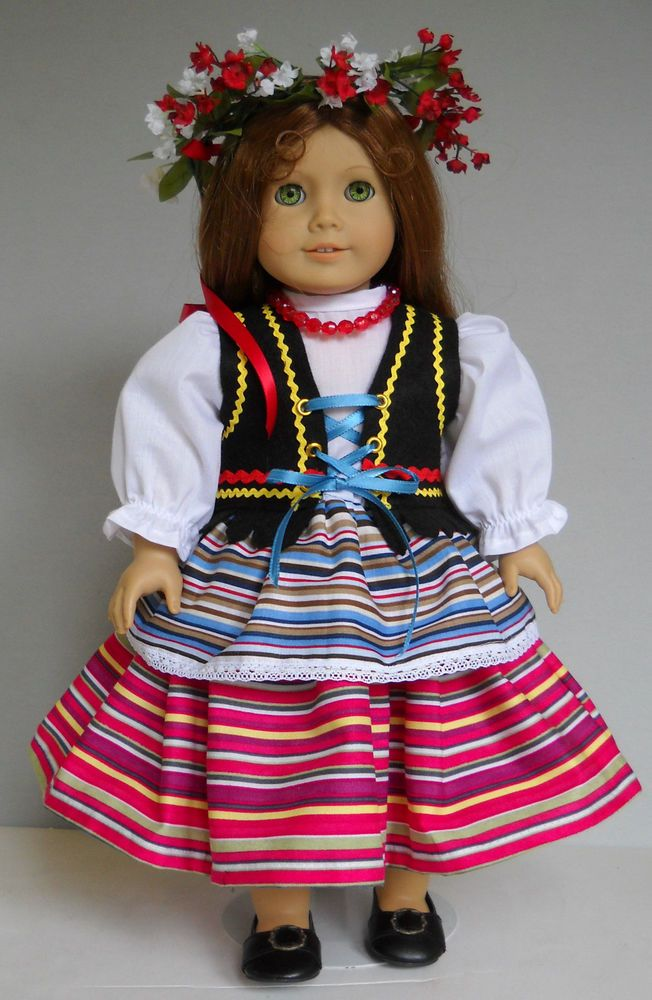 "Fits 18"" American Girl doll Poland Polish folk dress clothes F (COSTUME ONLY)"