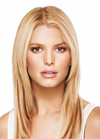 Elegant 100% Human Hair 16 Inches Straight Long Hair Extensions Inspired by Jessica Simpson Hairdo