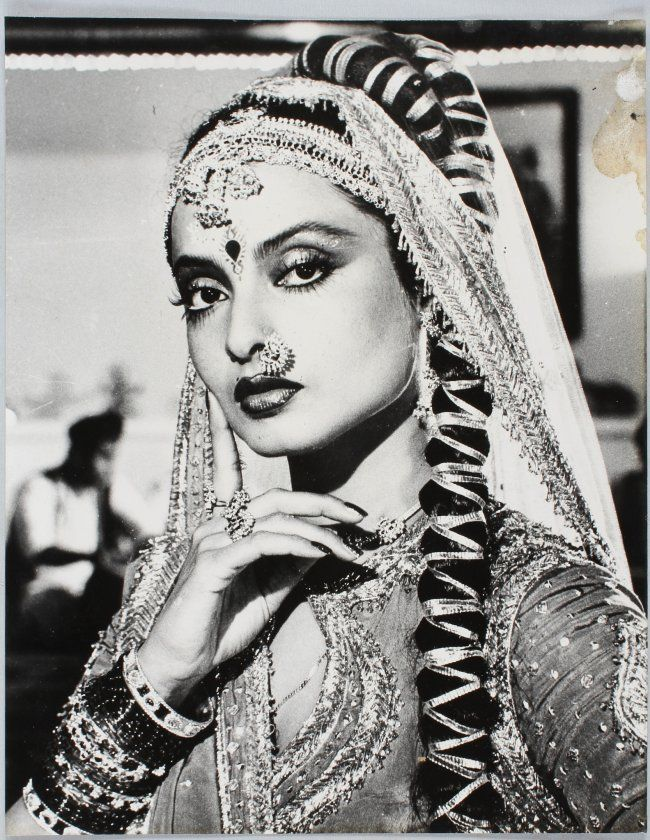 Eight vintage black and white photographs of Rekha in various roles, gelatin…