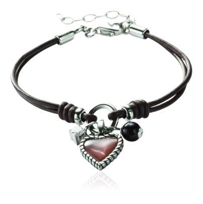 Fossil Damen-Lederarmband mit Perlmutt Herz 16-19.5 cm JF85718040 | Your #1 Source for Jewelry and Accessories