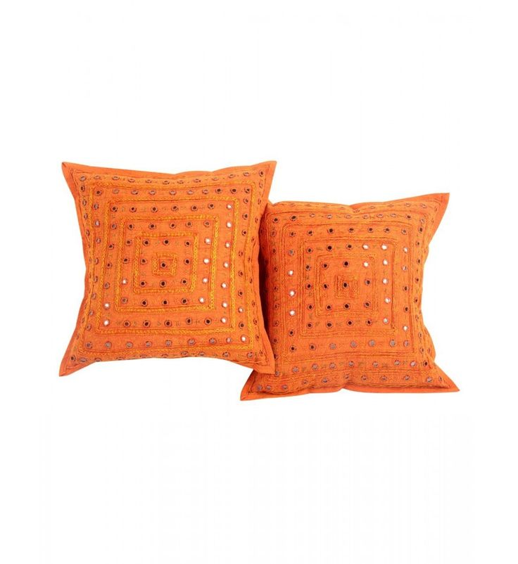 2 Orange Mirror Work Embroidery Indian Sari Throw Pillow Toss Cushion Covers