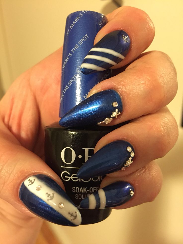 Blue Gel polish (St.Mark's the spot), navy, anchors, rhinestones, sea shells, stripes