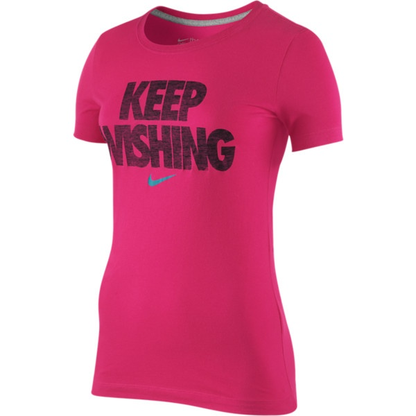 """Nike """"Keep Wishing"""" Women's T-Shirt - Light Voltage Cherry, S. Love these shirts for working out!"""