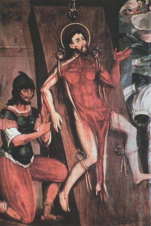 Anonymous, Martyrdom of St Bartholomew, 1623, oil on copper, 175 x 100 cm., Iglesia Santa Clara la Real, Tunja.