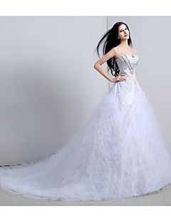 Vestido de Noiva Baile Sem Alças Comprido ( Organza/Tule )