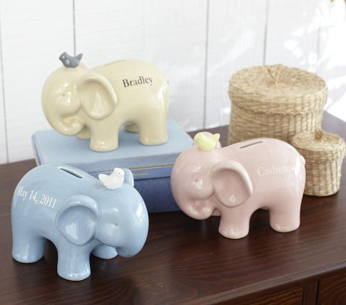 Elephant piggy banks cute animal art pinterest elephants piggy bank and pottery barn - Ceramic elephant piggy bank ...