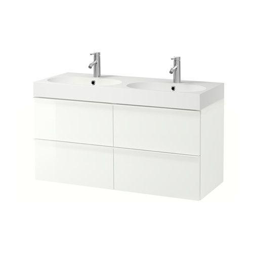 "GODMORGON / BRÅVIKEN Sink cabinet with 4 drawers - high gloss white, 47 1/4x19 1/4x26 3/4 "" - IKEA"