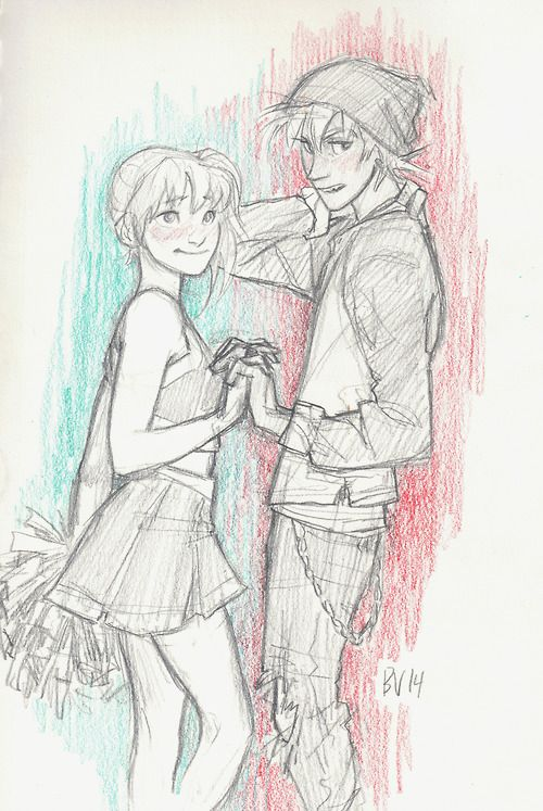 i usually don't draw au's, so this is kinda out of the ordinary… but before i knew it, i was sketching this unlikely pair- Maka Albarn, who's involved in (or president of) almost every extracurricular at school, and Soul Evans, slacker extraordinaire. blegh it's so cliche, i love it.