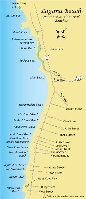 Laguna Beach map,  Orange County, CA