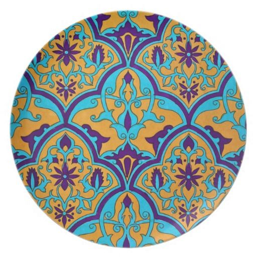 Iznik Turkish Persian Mosaic Ethnic Floral Tile Dinner Plate