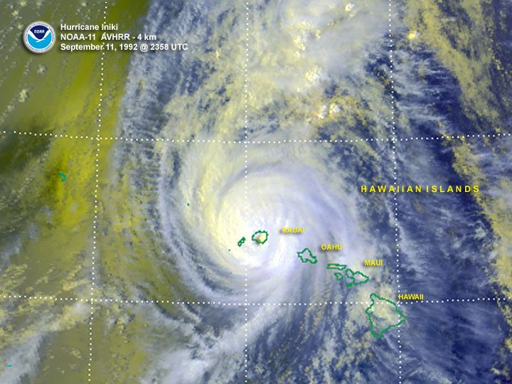The deadliest and costliest hurricane to ever hit Hawaii (in modern times) was Hurricane Iniki, which struck on Sept. 12, 1992 and caused about $3 billion in damage adjusted for inflation. The storm killed four people and affected 14,000 homes, according to the Weather Channel.