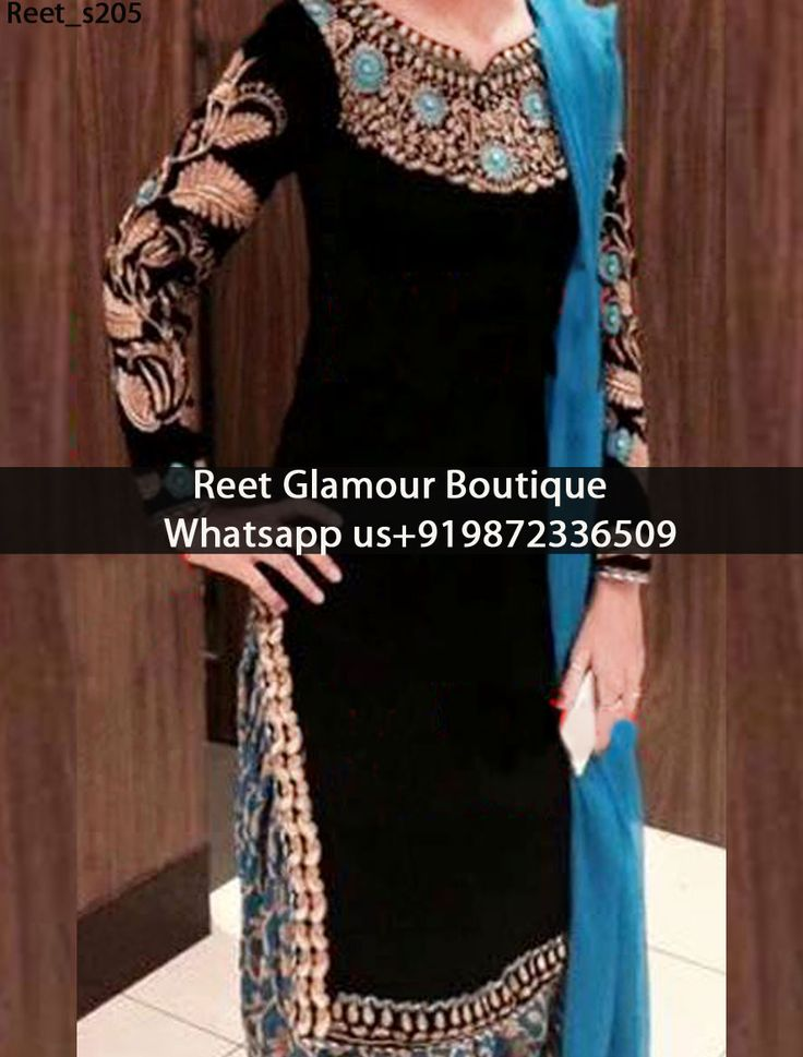 Booming Black And Blue Punjabi Suit Product Code : Reet_s205 To order, call/whats app on +919872336509 We offer huge variety of Punjabi Suits, Anarkali Suits, Lehenga Choli, Bridal Suits,Sari, Gowns,etc.We Can also Design any Suit of your Own Design and any Color Combination.
